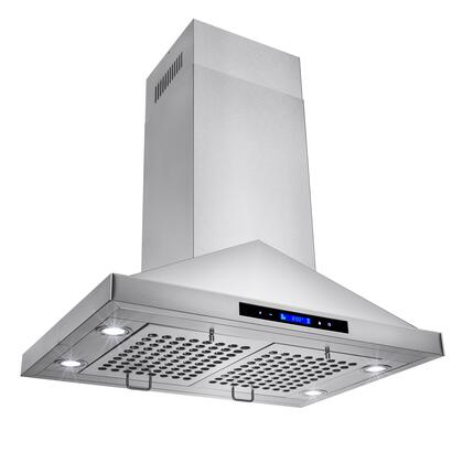 "Golden Vantage GIR0130 30"" Island Mount Range Hood with 870 CFM, 65 dB, Innovative Touch, LED Lighting, 3 Fan Speed, Stainless Steel Baffle Filter and X: Stainless Steel"
