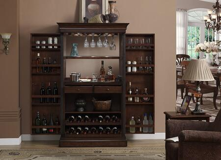 American Heritage 600061 Angelina Series Bar Server with Stemware Holders, Dual Pull-Out Wine Racks, Black-Glass Work Area, Electrical Outlet for Small Appliances, and Touch Light Cabinet