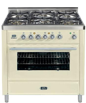 "Ilve UMT-906-DMP 36"" Freestanding Dual Fuel Range with 6 Sealed Burners, 3.55 cu. ft. Convection Oven Capacity, Digital Clock and Timer, Warming Drawer, Continuous Cast Iron Grates, Rotisserie, and 2 Oven Racks"