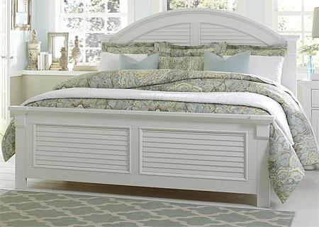 Liberty Furniture Summer House I Collection 607-BR-XPB Panel Bed with Louvered Panel Accents, Arched Crown Molding and Center Supported Slat System in Oyster White Finish