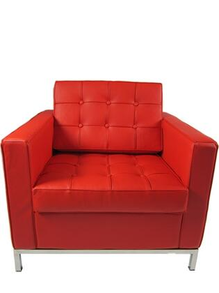 Fine Mod Imports FMI2201RED Button Series Leather Armchair with Stainless Steel Frame in Red