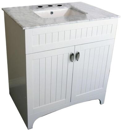 "Bellaterra Home 7615XX 32"" Single Sink Vanity with White Marble Top"