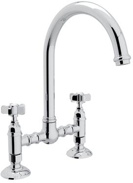 """Rohl A1461X-2 Italian Country Kitchen Collection Deck Mounted C-Spout Bridge Kitchen Faucet with 8"""" Reach and Five Spoke Handles in"""