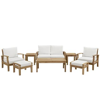 Modway EEI-1471-NAT Marina 8 Piece Outdoor Patio Teak Sofa + 2 Chairs + 2 Ottomans + 2 End Tables + Coffee Table Set with Water/UV Resistant Cushions, and Solid Teak Construction