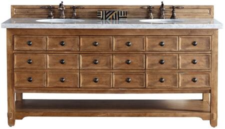 "James Martin Malibu Collection 500-V72-HON- 72"" Honey Alder Double Vanity with Six Drawers, Bottom Shelf, Rustic Iron Hardware and"
