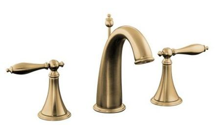 Kohler K-310-4M- Double Handle Widespread Bathroom Faucet with Metal Lever Handles from the Finial Traditional Series: