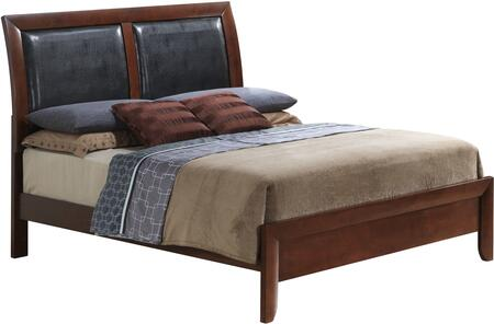 Glory Furniture Sleigh Bed with Padded Headboard and Wood Frame Construction in Cherry Finish