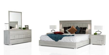 VIG Furniture VGACETHANSETGRY Modrest Ethan Italian Bedroom Set includes 2 Nightstands, Bed, Dresser, Mirror and LED Headboard Lights in Grey