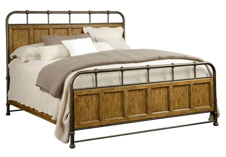 Broyhill New Vintage 4808METALWOOD Metal/Wood Bed with Spindle Design on the Metal, Panel Details on the Wood and Footboard with 5 Slats Included in Vintage Brown