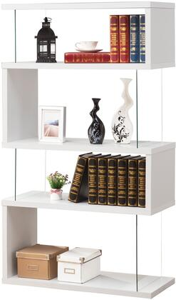 """Coaster Bookcases 35.5"""" Asymmetrical Snaking Bookshelf with 4 Shelves, Rectangular Shape, Glass Panel Sides, Clean Lines and Wood Construction in"""
