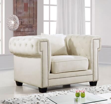 """Meridian Bowery Collection 614X-C 47"""" Chair with Velvet Upholstery, Chrome Nail Heads, Button Tufting and Contemporary Style in"""