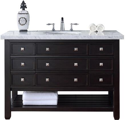 """James Martin Vancouver Collection 505-V48-CEO- 48"""" Cerused Espresso Oak Single Vanity with Seven Drawers, Bottom Shelf, Satin Nickel Hardware and"""