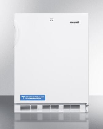 """Summit VT65ML7BIA 24"""" Commercially Approved ADA Compliant Compact Freezer with 3.5 cu. ft. Capacity, Fully Finished White Cabinet, Factory Installed Lock, and Three Slide-out Drawers in"""