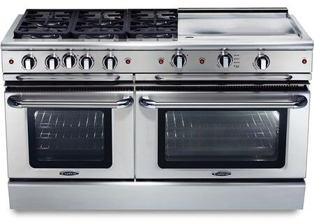 """Capital GSCR606GL 60"""" PRECISION Series Gas Freestanding Range with Sealed Burner Cooktop, 4.6 cu. ft. Primary Oven Capacity, in Stainless Steel"""