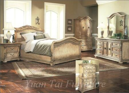 Yuan Tai 7500QCHSET Florence Series 5 Piece Bedroom Set