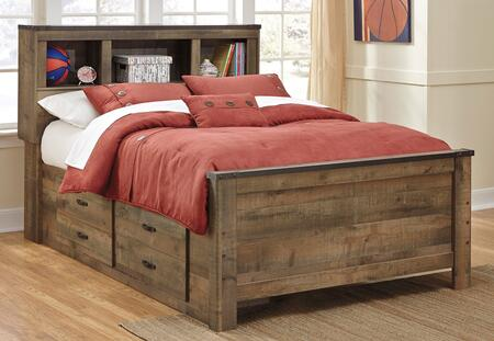Milo Italia Becker BR-549BOOKS Bookcase Bed with 2 Underbed Storage Drawers, 3 Open Shelf Compartments and Replicated Oak Grain in Brown