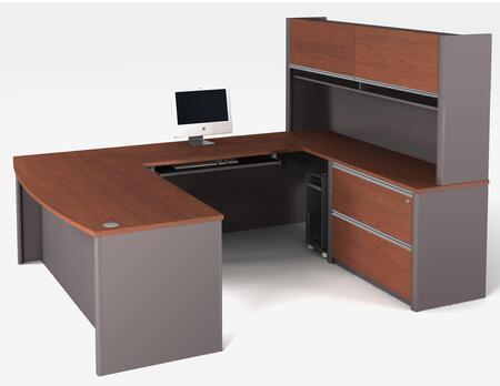 Bestar Furniture 93878 Connexion U-shaped workstation including assembled oversized pedestal