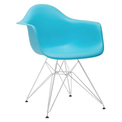 """EdgeMod Padget Collection 24.2"""" Arm Chair with Chromed Steel Wire Base, Non-Marking Feet and Polypropylene Plastic Seat in"""