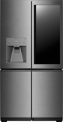 """LG Signature LUPXSxx86N 36"""" 4 Door French Door Refrigerator with x cu. ft. Capacity, InstaView Door in Door, Auto Door Open, Surrounding Metal Interior, Wifi Eclipse Display, Water and Ice Dispenser, in Textured Steel"""