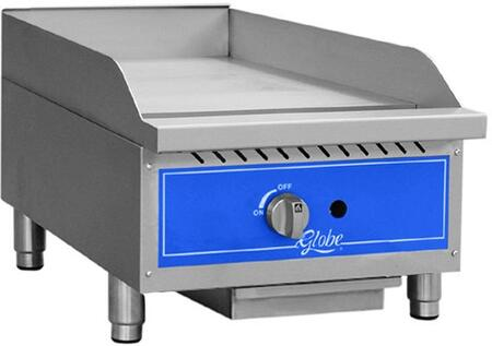 "Globe GG Manual Control Countertop Gas Griddle with 3/4"" Griddle Plate, and Adjustable Legs and Feet in Stainless Steel"