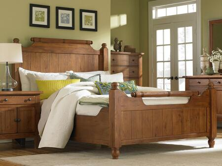 Broyhill Attic Heirlooms 4397FEATHER Feather Bed with Distressing Details, Turned Feet Posts and Line Etched Details in Natural Oak Stain Finish