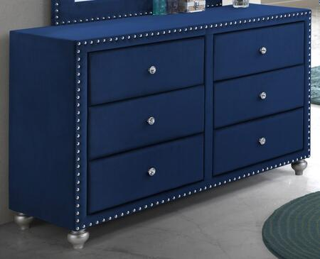 """Cosmos Furniture Alana Collection ALANA DRESSER X 56"""" Dresser with 6 Drawers, Fabric Upholstery, Nailhead Trim, Decorative Pulls and Wood Frame Construction in"""