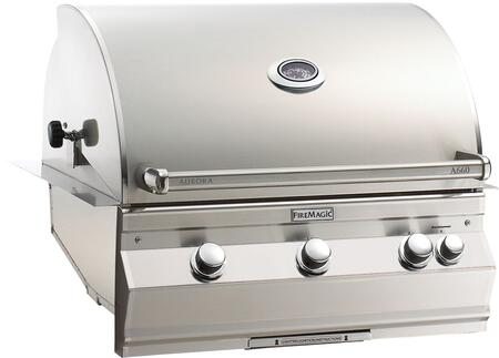 """FireMagic A660I6EAX Aurora 36.5"""" Built-In Grill with E-Burners, Back Burner, and Analog Thermometer"""
