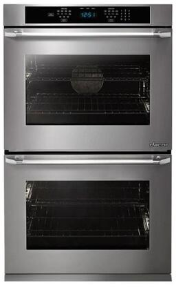"Dacor DTO227Px Distinctive 27"" Double Wall Oven in Black Glass - ships with stainless steel Pro Style handle."