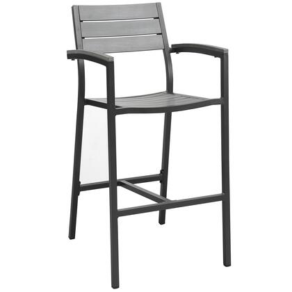 """Modway Maine Collection EEI-1510- 23"""" Outdoor Patio Bar Stool with Solid Wood Slats, Powder Coated Aluminum Frame and Plastic Base Glides in"""