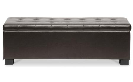 Wholesale Interiors Baxton Studio BBT3101 Roanoke Ottoman with Storage Compartment, Eucalyptus Wood Frame, Polyurethane Foam Padding and Bonded Leather Upholstery