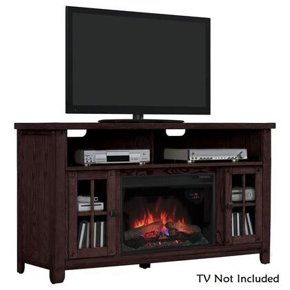 "Classic Flame 26MM9740 New Dakota 59.5"" Media Mantel Electric Fireplace with Side Cabinet Storage, Adjustable Wood Shelves, Sturdy Box Base and Tempered Glass Windowpane Doors in"