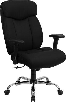 "Flash Furniture HERCULES Series GO-1235-BK-XX-A-GG 19.5"" 350 lb. Capacity Big & Tall Office Chair with Arms, Integrated Headrest, Built-In Lumbar Support, and Chrome Finished Base"