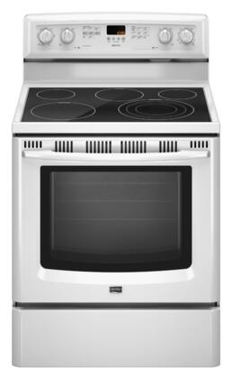 Maytag MER8772WW  Electric Freestanding Range with Smoothtop Cooktop, 5.6 cu. ft. Primary Oven Capacity, Storage in White