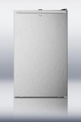 "Summit CM421BLSSHH0 20"" Top Freezer Refrigerator With 4.1 cu. ft. Capacity, Factory Installed Lock, Manual Defrost, Adjustable Glass Shelves, Crisper Drawer and Interior Light in Stainless Steel"
