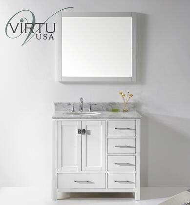 "Virtu USA GS-50036-WM-WH Virtu USA 36"" Caroline Avenue Single Sink Bathroom Vanity in White with Italian Carrara White Marble"