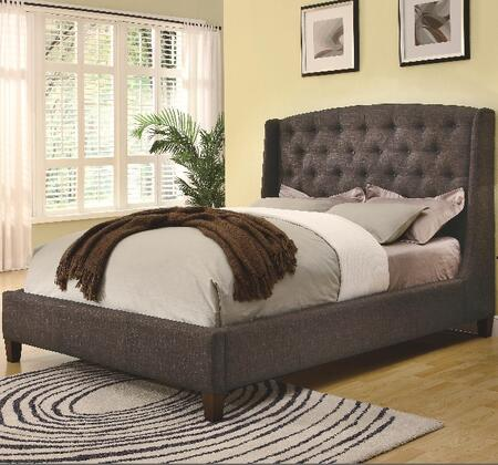 Coaster 300247 Low Profile Dark Upholstered Bed with Exposed Wood Bun Feet