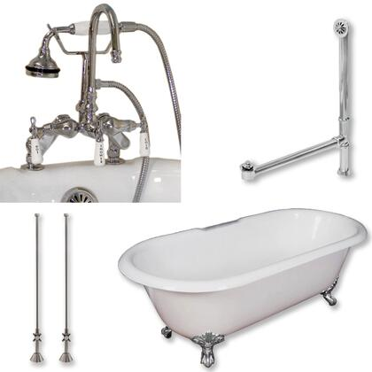 """Cambridge DE67684DPKGXX7DH Cast Iron Double Ended Clawfoot Tub 67"""" x 30"""" with 7"""" Deck Mount Faucet Drillings and English Telephone Style Faucet Complete Plumbing Package"""