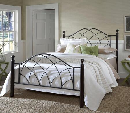 Hillsdale Furniture 1764B Vista Poster Bed Set with Rails Not Included, Black Turned Posts and Tubular Steel Construction in Metallic Silver