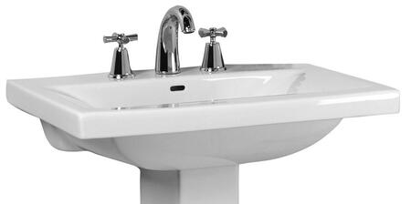 "Barclay B/3-26WH Mistral 510 Basin Only, with Pre-drilled Faucet Holes, Overflow, 4"" Basin Depth, and Vitreous China Construction, in White"