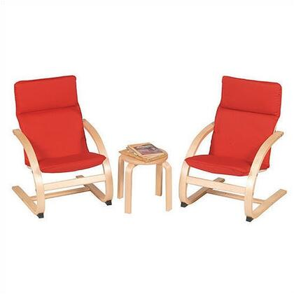 Guidecraft G640X Rocker Kiddie Chair Set with 2 Chairs and 1 Table in Natural Finish - x Upholstery