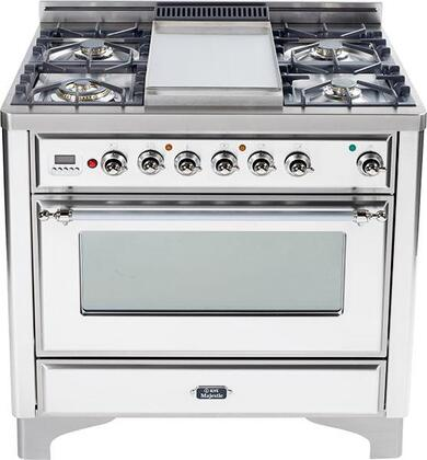 """Ilve UM90FMPBX 36"""" Majestic Series Dual Fuel Freestanding Range with Sealed Burner Cooktop, 2.8 cu. ft. Primary Oven Capacity, Warming in True White"""