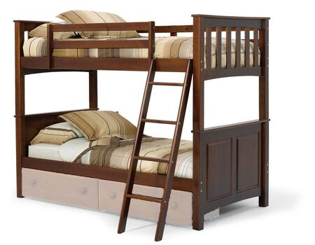 Chelsea Home Furniture 3652000X Twin Over Twin Mission Panel Bunk Bed with Plantation-grown Pine, Rustic Style, and Hand Stained in Dark Finish
