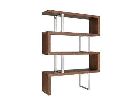 "Casabianca Scala Collection 51"" Bookcase with 3 Shelves, Stainless Steel Frame, Medium-Density Fiberboard (MDF) and in"