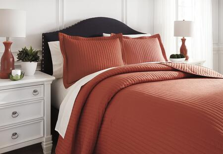 Signature Design by Ashley Raleda Q496003 3 PC Size Coverlet Set includes 1 Coverlet and 2 Shams with Solid Pattern and Polyester Material in Orange Color