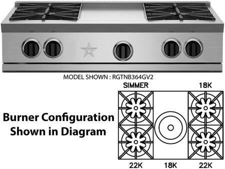 """BlueStar RGTNB364FTV2LN 36"""" RNB Series Gas Open Burner Style Cooktop with 4 Burners, in Stainless Steel"""