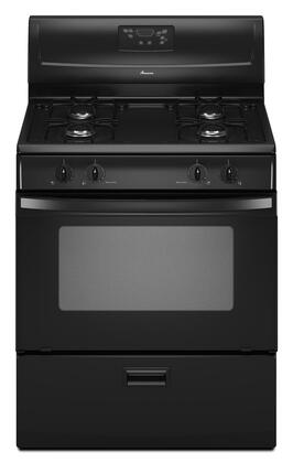 """Amana AGR4433XDB 30"""" Gas Freestanding Range with Sealed Burner Cooktop, 4.4 cu. ft. Primary Oven Capacity, Storage in Black"""