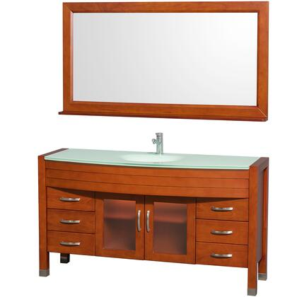 """Wyndham Collection WCV210960 Daytona 60"""" Single Vanity with Mirror, Six Drawers, Two Soft Close Doors, Storage Space, and Sink"""