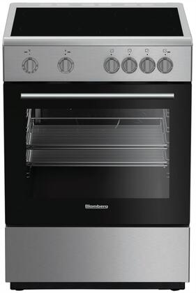 """Blomberg BERU24x02SS 24"""" Electric Range with 4 Elements, 2.4 cu. ft. Oven Capacity, Storage Drawer, Easy Clean Enamel Finish, Residual Heat Indicators, in Stainless Steel"""