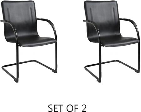 """Boss B9535 36"""" Mid-Back Guest Chair with Black Tubular Steel Frame, Contoured Back, and Padded Foam on Seat and Back in Black Vinyl Upholstery"""