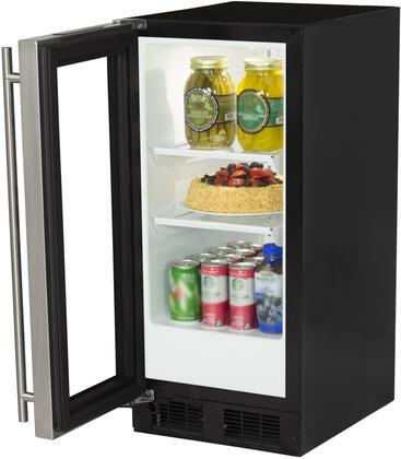"""Marvel ML15RA 15"""" Refrigerator with 48 12-oz Cans Capacity, Dynamic Cooling Technology, Integrated Controls, Close Door Assistant System, Sabbath Mode and Left Hinge, in Stainless Steel"""